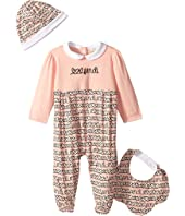 Fendi Kids - Logo Heart Print Footie/Hat/Bib Set (Infant)