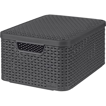 CURVER | Rangement Style Aspect rotin M + couvercle, Anthracite, Storage Others, 39,7x29x18,7 cm
