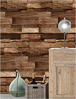 HaokHome 188132 Realistic Faux Wood Plank Wallpaper Black/Coffee/Chocolate for Home Kitchen Decor 20.8