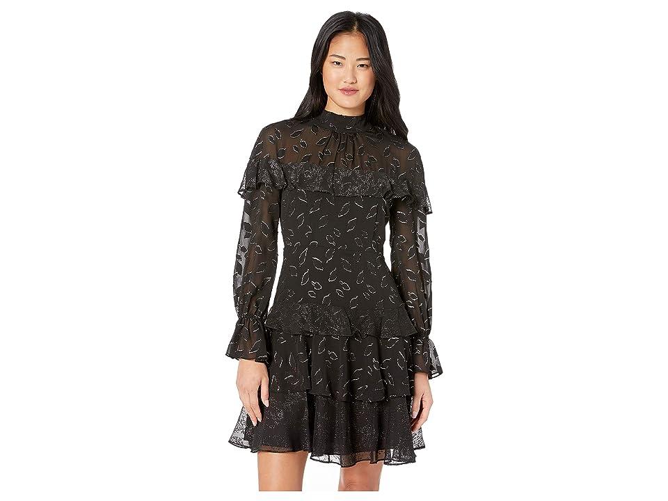 BCBGMAXAZRIA CKTL Midi Woven Dress (Black Combo) Women