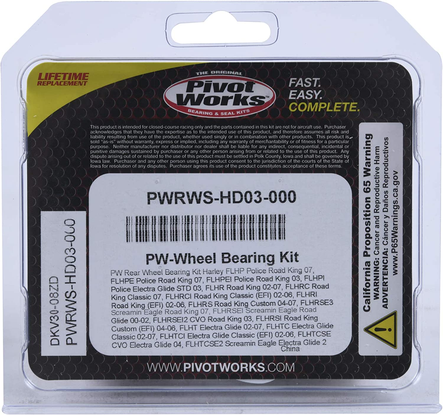 Pivot Works Wheel Bearing Max 70% OFF cheap Kit PWRWS-HD03-000 Compatible Rep With