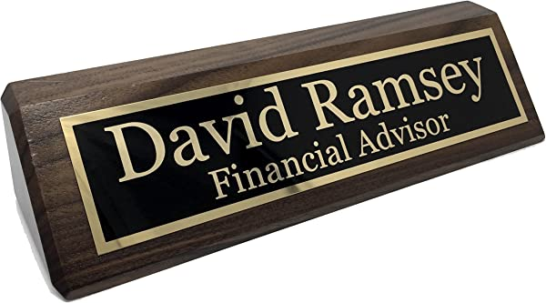 Personalized Desk Name Plate Walnut Free Engraving