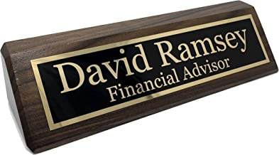 Personalized Desk Name Plate - Walnut - Free Engraving