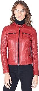 D'Arienzo Giacca in Pelle Donna Rossa Giubbotto Biker Giubbino Moto Vera Pelle Made in Italy Cassia