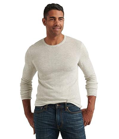 Lucky Brand Linen Blend Welterweight Crew Neck Sweater (Heather Grey) Men