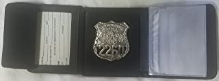 New York Police Shield Badge Tri-Fold Leather Badge Wallet Holder Money Section Credit Cards Police Sheriff Fire Dept. Security - Sold by Uniform World