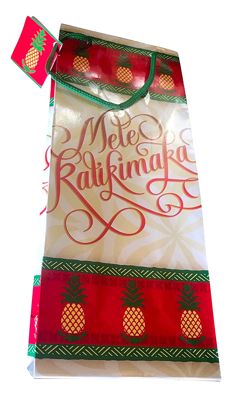 Island Treasures Hawaiian Mele Kalikimaka Xmas Bag (Holiday Pineapple, Wine Bag 5-1/2