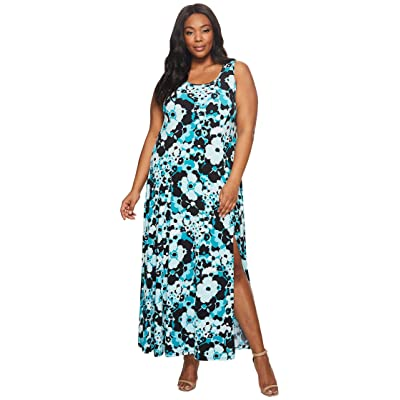 MICHAEL Michael Kors Plus Size Spring Floral Maxi Tank Dress (Tile Blue/Black Multi) Women