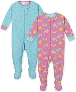 GERBER Baby Girls' 2-Pack Footed Unionsuit