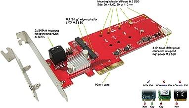 Ableconn PEXM2-2SA Dual SATA M.2 SSD-HDD Hybrid RAID Controller PCI Express Card - Support 2X M.2 NGFF SSDs + 2X SATA III (6G) Ports