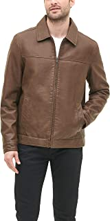 Men's Classic Faux Leather Jacket, earth, Small