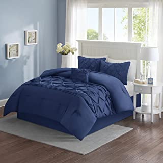 Comfort Spaces Cavoy Ultra Soft Hypoallergenic Microfiber Tufted Pattern 5 Piece Comforter Set Bedding, King, Navy