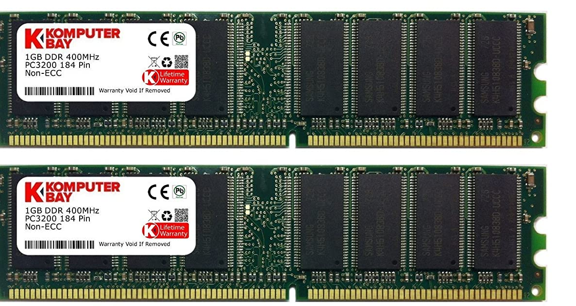 KOMPUTERBAY 2GB (2 x 1GB) DDR DIMM (184 PIN) 400Mhz PC3200 CL 3.0 Desktop Memory