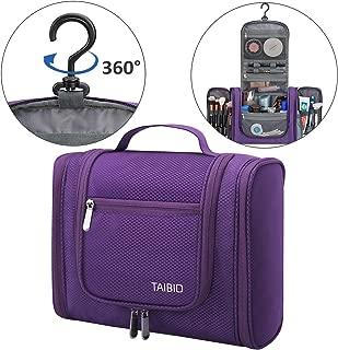 TAIBID Hanging Toiletry Bag - Large Flat Travel Kit 11 Inch Makeup Cosmetics Bag Organizer for Men and Women, Purple