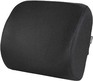 Homfa Cojín Lumbar Soporte Alivie la fatiga y el dolor de lumbar para Oficina con Esponja Memoria Extensible Cojines para Espalderas Negro 13.5x39x32cm