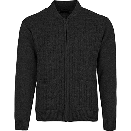 Mens Knitter Cardigan Round Neck Zipper Cardigans Front Pockets Cable Knit