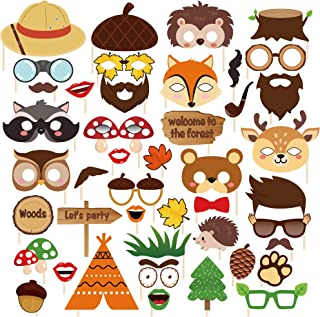 LJCL Forest-Friends Animals Party Decorations,Woodland Photo Booth Props 44pcs,Woodland Creatures Animal Cosplay Zoo Camping Themed Party Favors Supplies for Kids Boys or Girls