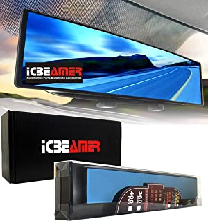 """ICBEAMER 15.8"""" 400mm Easy Clip on Wide Angle Panoramic Blind Spot Fit Auto Interior Rearview Mirror Convex Blue Surface"""