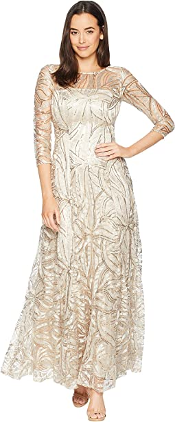 Novelty Sequin Sleeved Gown