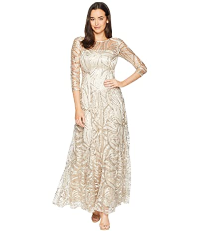 Tahari by ASL Novelty Sequin Sleeved Gown (Champagne) Women
