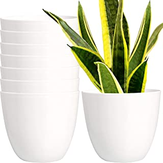 Youngever 7 Pack 16 cm Plastic Planters Indoor Flower Plant Pots, Modern Decorative Gardening Pot with Drainage for All Ho...