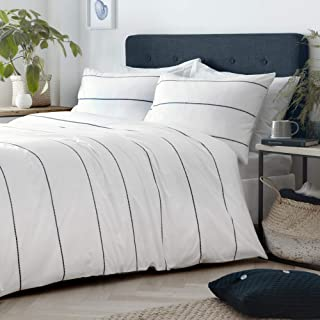 Appletree Set, Cotton, White/Navy, Single, W135cm x L200cm (Duvet Cover), W50cm x L75cm (Pillow Case)