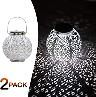 SteadyDoggie Solar Lanterns 2 Pack | Hanging Solar Lights with White LED | Retro Ornate Hanging Solar Lantern with Handle 4 Lumens