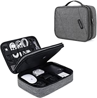 BAGSMART Electronic Organizer Double Layer Travel Cable Organizer Cases Electronics Accessories Storage Bag for 10.5 Inch Tablet, Mouse, Adapter, Cables, Grey