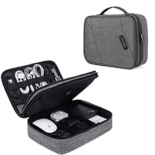 BAGSMART Electronics Accessories Bag, Extra Large Cable Organiser Bag Travel Double Layer for 10.5'' Tablet, Charger, Adaptors, Hard Drives, Mouse, Cables,USB Flash Drives, Grey