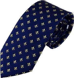 comprar comparacion Corbata azul con la flor de lis en oro, fabricada a mano, en 100% seda. Pietro Baldini