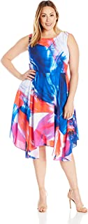 Women's Plus Size Floral Fit and Flare Midi Dress