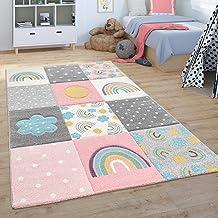 Vloerkleed voor de kinderkamer Vloerkleed Kinderkamer Speelvloerkleed Regenboog Wolken Roze Grijs Wit, Maat:80x150 cm