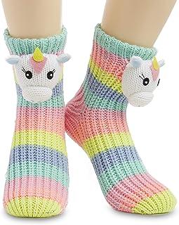 Calcetines Antideslizantes Mujer, Zapatillas de Casa Punto Invierno Mullidos de Animales Unicornio Pingüino Gato, Calcetín Gordo Mujer Suave, Regalos Para Mujeres Niñas