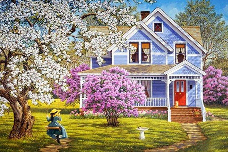 21secret 5D Diamond Diy Painting Full drill Handmade Girl on the Swing Scenery Cross Stitch Home Decor Embroidery Kit