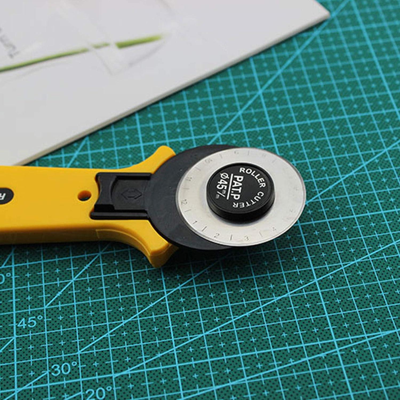 Rollschneider-Set H/äkeln und Stricken 28 mm Stoffschneider 5 Ersatzklingen Ideal zum Basteln Patchwork N/ähen Acryl-Lineal und Bastel-Clips