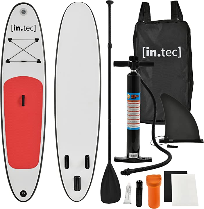 Stand up paddle gonfiabile - paddle board - 305 x 71 x 10cm - rosso- remo in alluminio - pompa manuale in.tec B07CTWGJHL