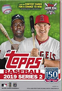 Hanger Box 2019 Topps Baseball Factory Sealed Series Two with 67 Cards Including Possible Autographs Rookies Game Used Relic Cards and More