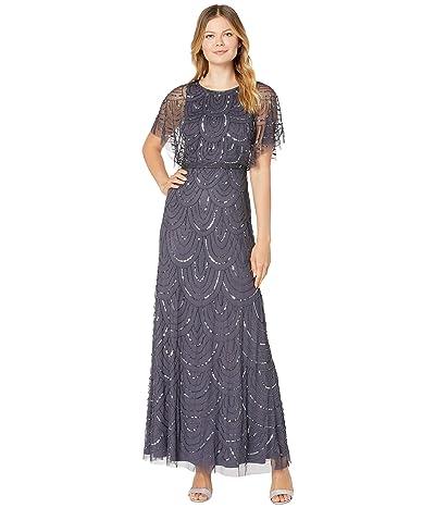 Adrianna Papell All Over Beaded Blouson Long Dress (Gunmetal) Women