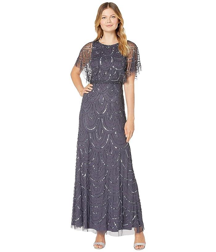 Vintage 1920s Dresses – Where to Buy Adrianna Papell All Over Beaded Blouson Long Dress Gunmetal Womens Dress $249.00 AT vintagedancer.com