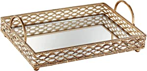 "Dahlia Studios Magot 16"" Wide Antique Gold Mirrored Tray"