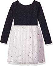 Youngland Toddler Girls' Novelty Texture Sparkle Knit Bodice With Mesh Skirt Blue/White/Multi 2T