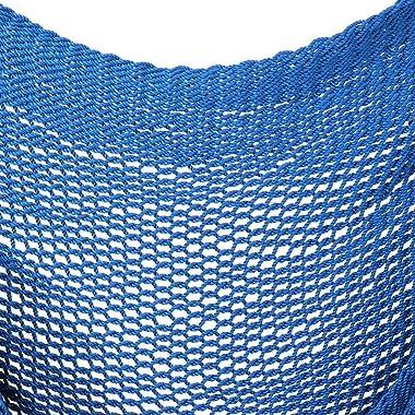 Extra-Large Hanging Caribbean Rope Hammock Chair - Caribbean Blue Hammock Chairs Outdoor Hammock Chairs Patio Outdoor Furnitu