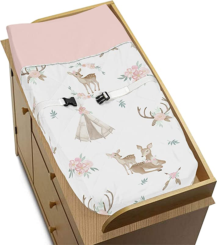 Sweet Jojo Designs Blush Pink Mint Green And White Boho Changing Pad Cover For Woodland Deer Floral Collection