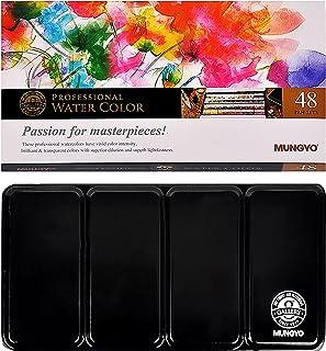 رنگ های آب نیمه حرفه ای Mungyo Muniso در رنگ قلع / پالت مخلوط انتگرال در درب (48 رنگ) تنظیم شده است