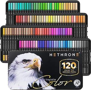 قلم فرشاة أقلام تلوين مزدوجة من هيثرون مكونة من 120 لونًا - أقلام تلوين للبالغين