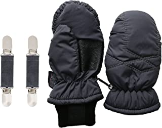 SANREMO Unisex Kids Toddler Waterproof Thinsulate Winter Snow Mittens and Mitten Clips Set