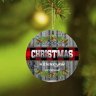 Christmas Ornaments 2019 Merry Christmas Kennesaw Georgia Xmas Presents Ideas State GA Ornament Rustic Funny Gift New Home Housewarming Keepsake Gift Ceramic 3 inches White