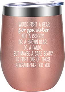 Best Sister Gifts from Sister, Funny Christmas Gifts for Sister, Sister Birthday Gift, Sister Mug, Sister Gift - Little, Unbiological, Soul, Big Sister Gifts, Twin Sisters - LEADO Sister Wine Tumbler