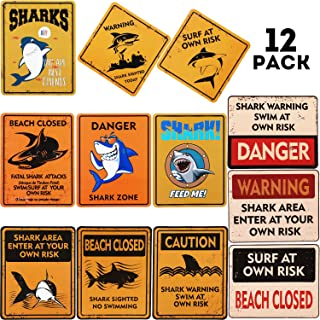 Shark Zone Party Decorations Shark Sign Wall Decoration Sharks Decor Signs with 12 Styles for Shark Theme Party Supplies (12)
