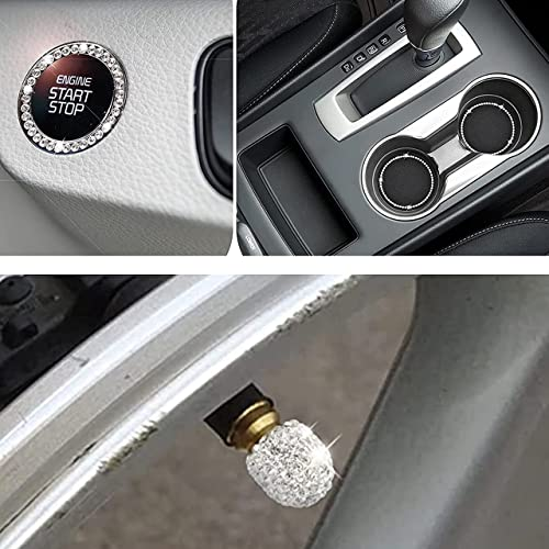 2021 EcoNour online Gift Bundle | Car sale Cup Holder Coaster - 2.75 Inch (2 Pack) with Bling Ring Emblem (1 Pack) + Bling Tire Valve Stem Caps (4 Pack) | Bling Car Accessories for Women online sale